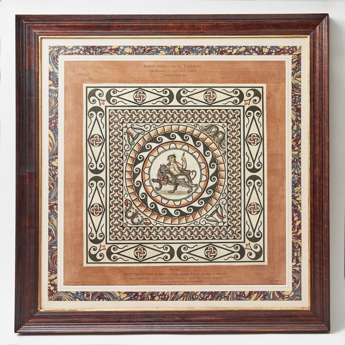 J.Roffe Lithograph of Roman Pavement Tile