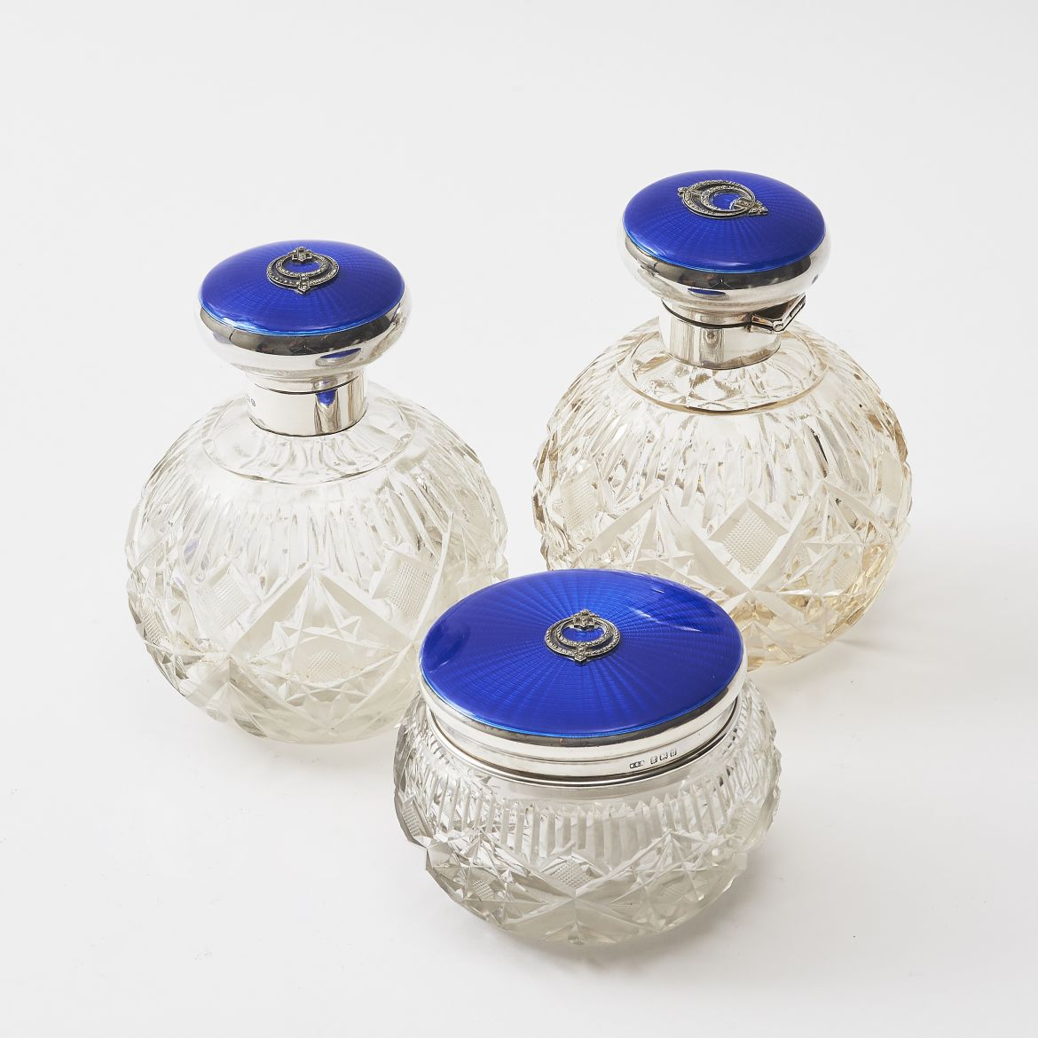 Cut Crystal Perfume Bottles and Powder Pot