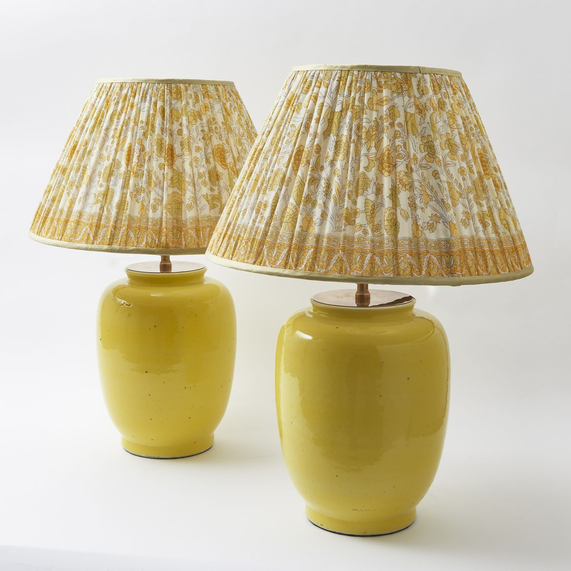 Pair Chinese Yellow Glaze Lamps