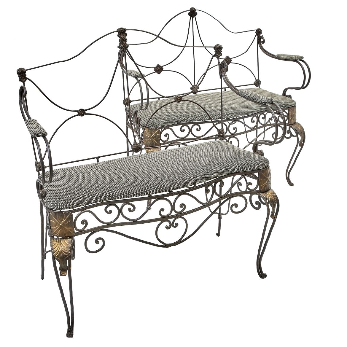 Pair Wrought Iron Settees