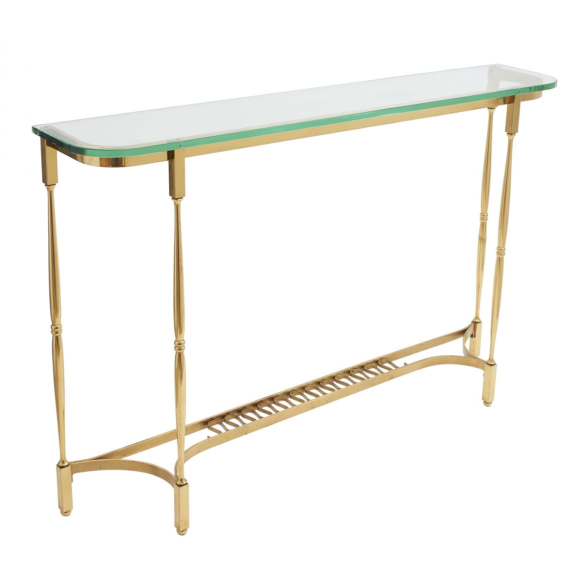 Narrow Glass & Brass Console
