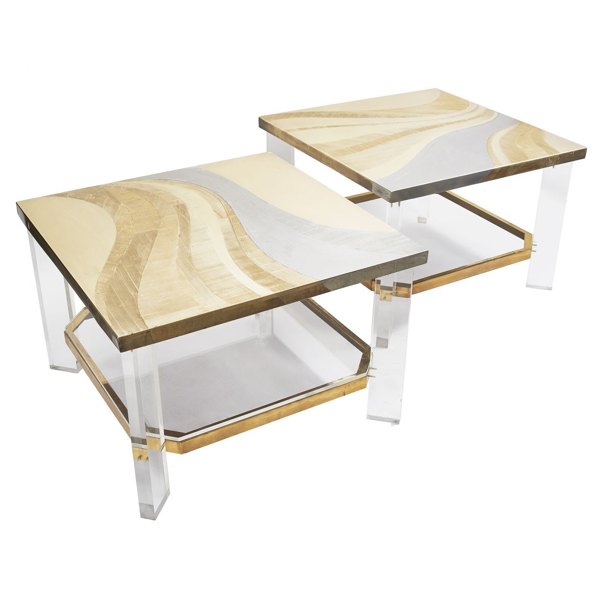 Pair Coffee Tables With Etched Brass Tops