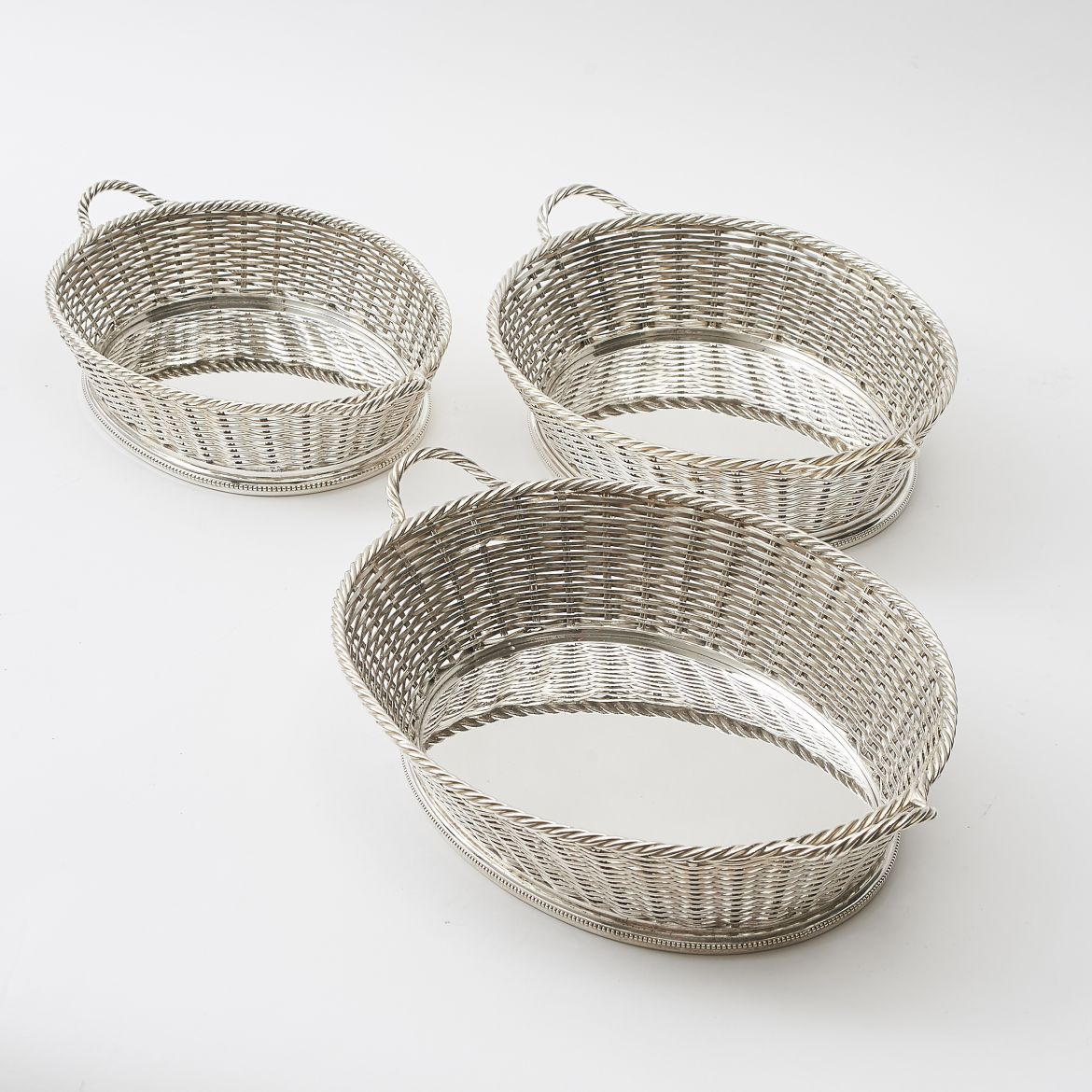Set 3 Silver Plate Baskets