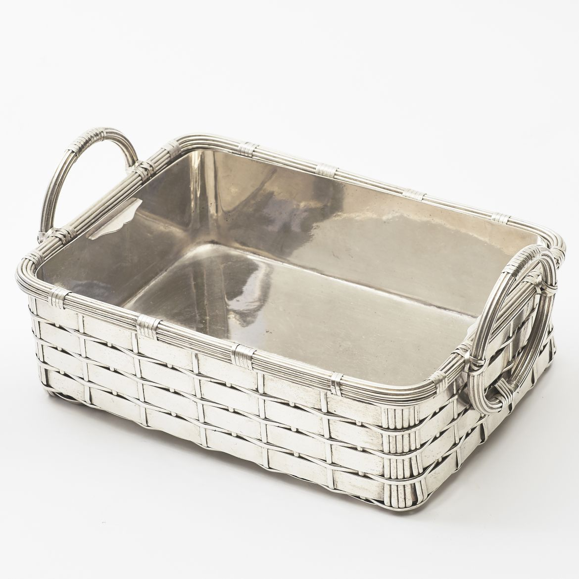 Rectangular Silver Plate Basket