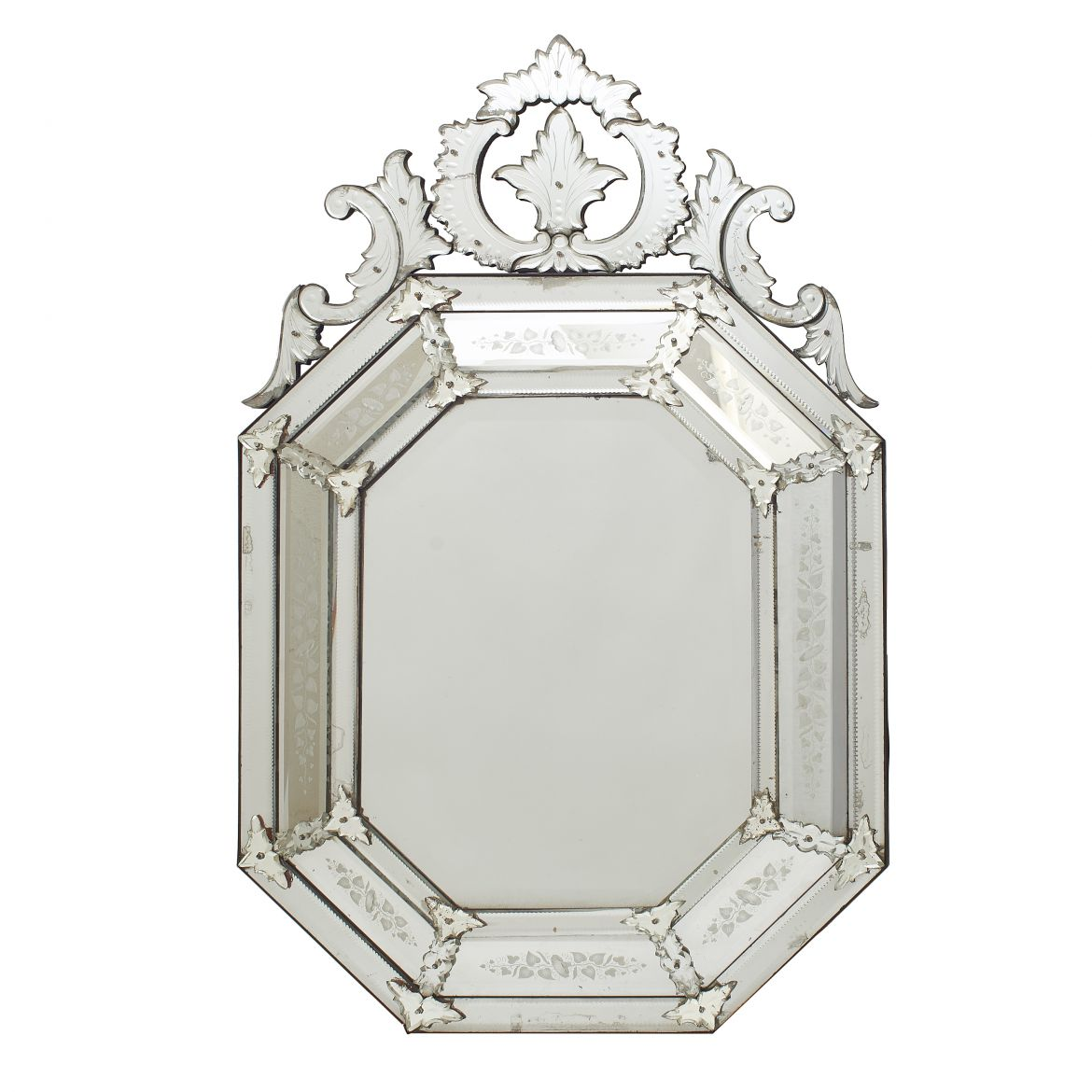 Octagonal Crested Cushion Mirror