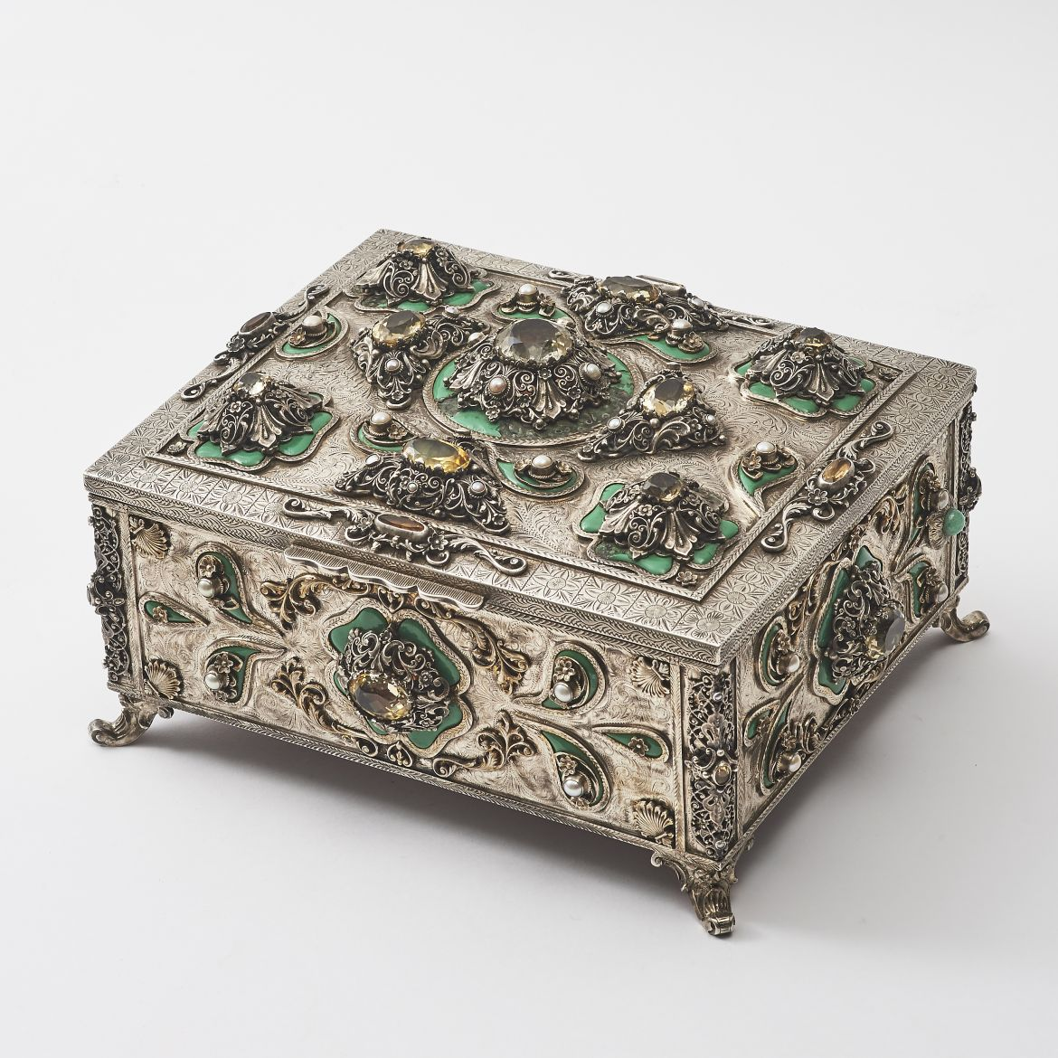 Silver Casket With Large Citrines