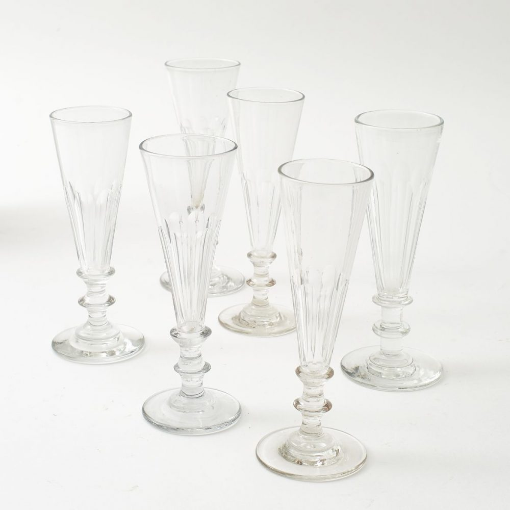 Six French Tall Champagne Flutes