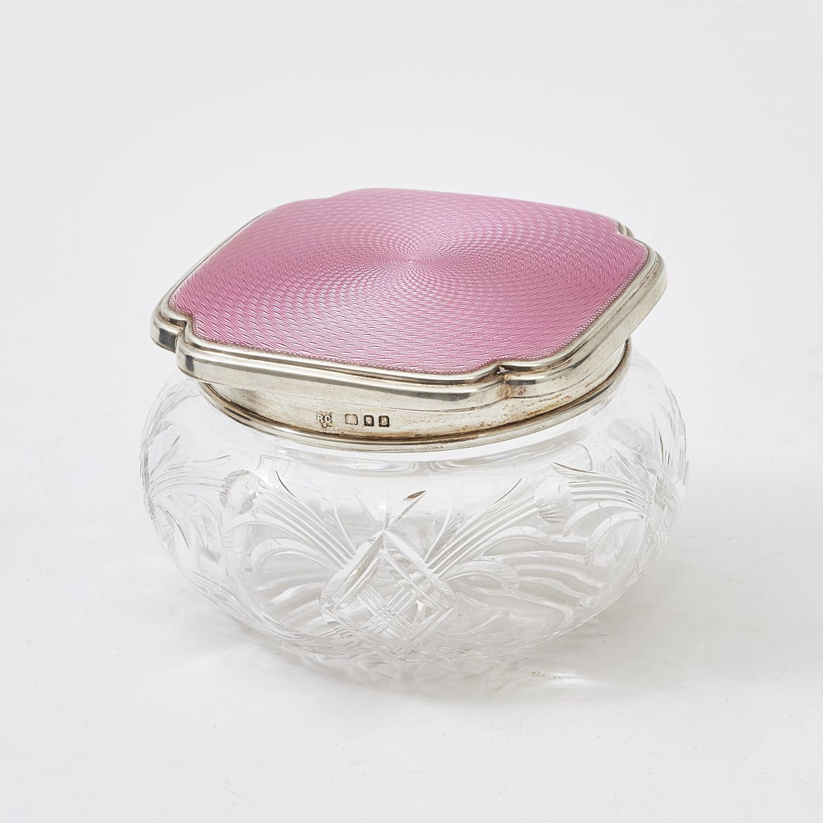 Cut Crystal & Enamel Powder Pot