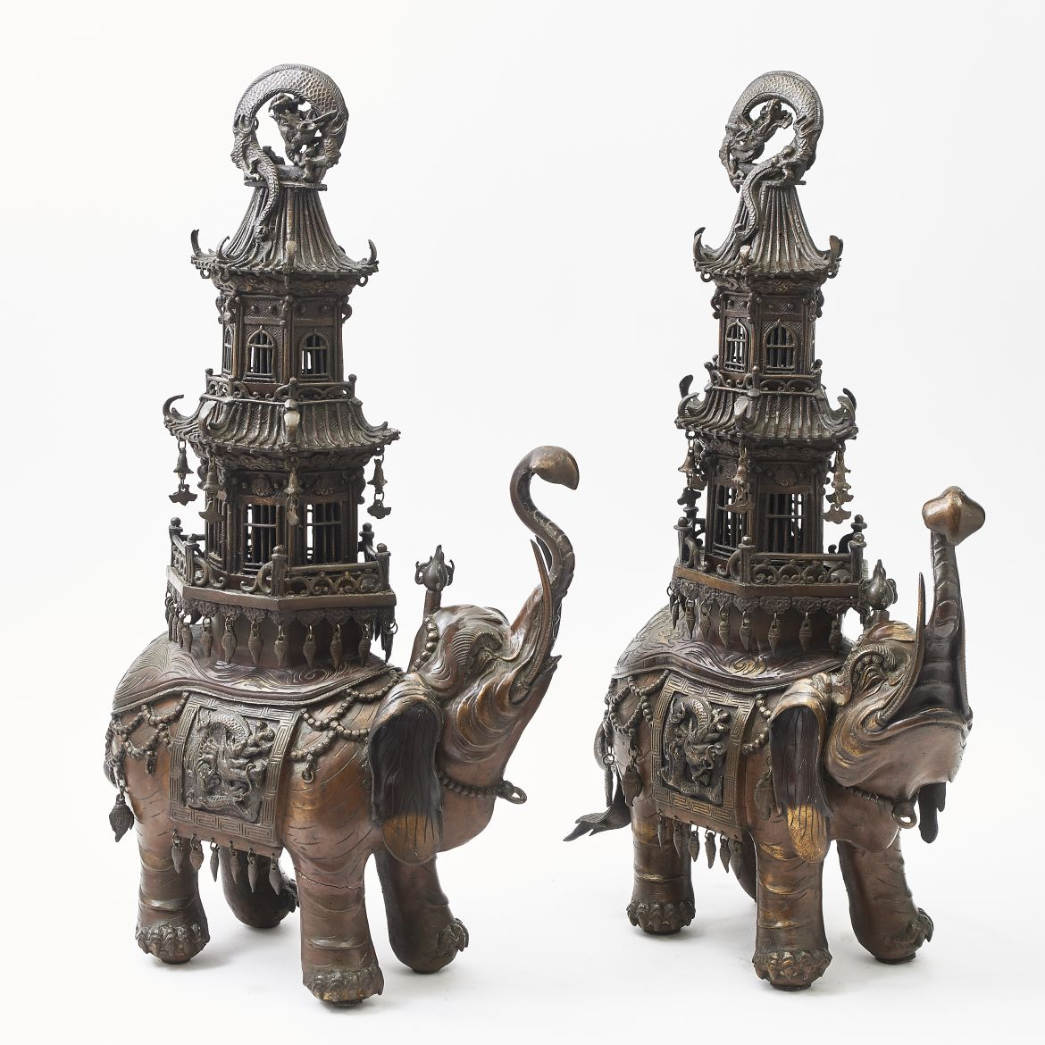 Pair Japanese Elephant Incense Burners