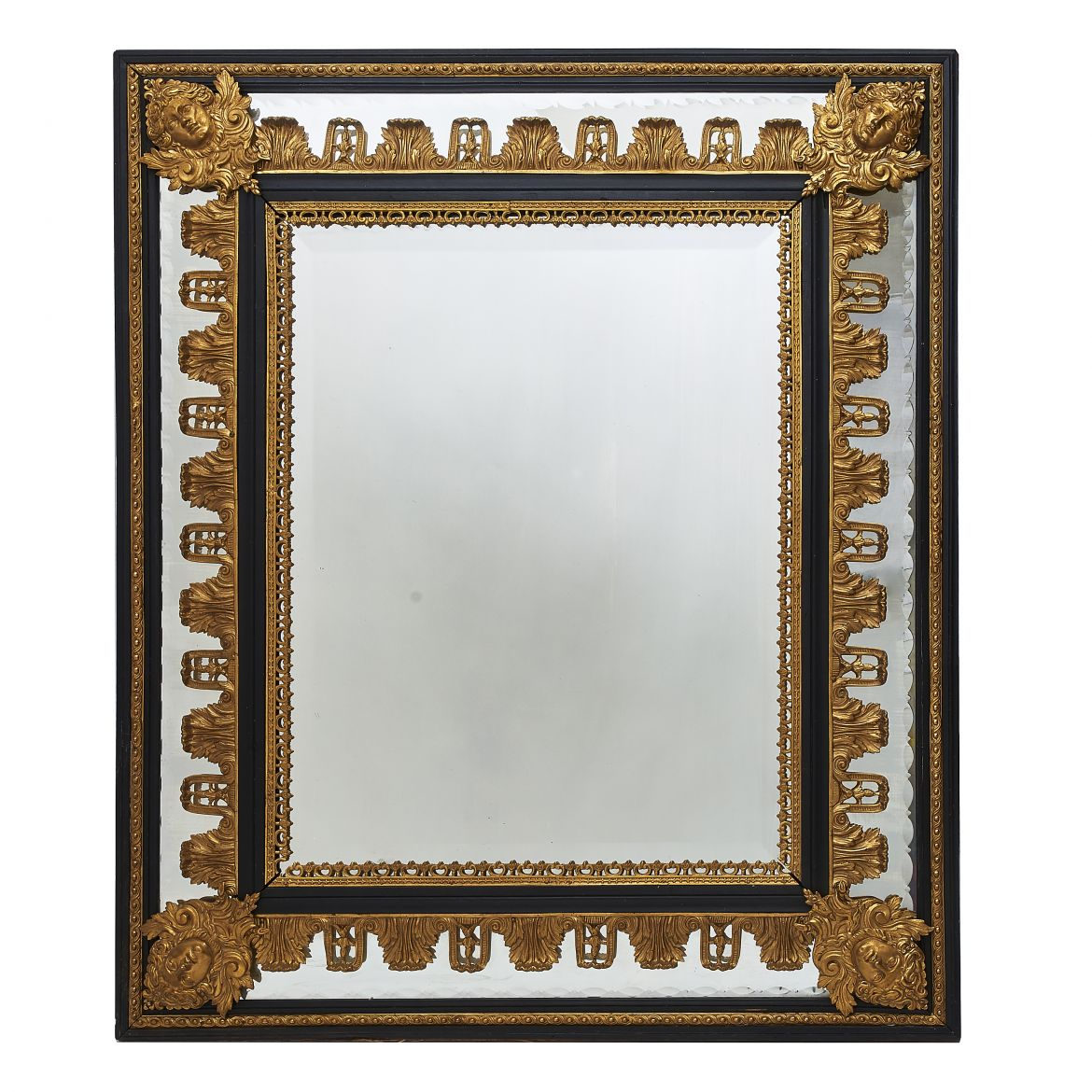 French Ormolu Mounted Cushion Mirror