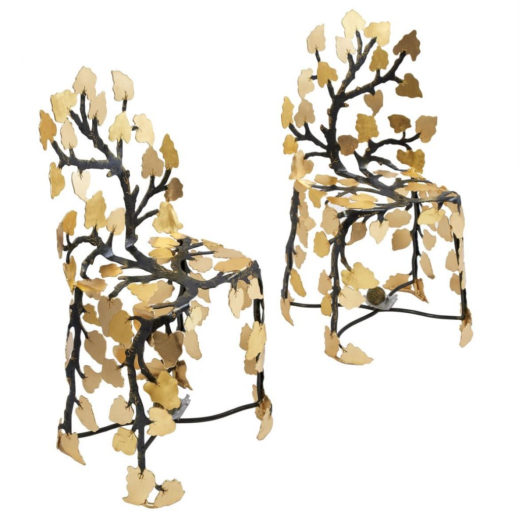 Pair Gilded Bronze Leaf Chairs