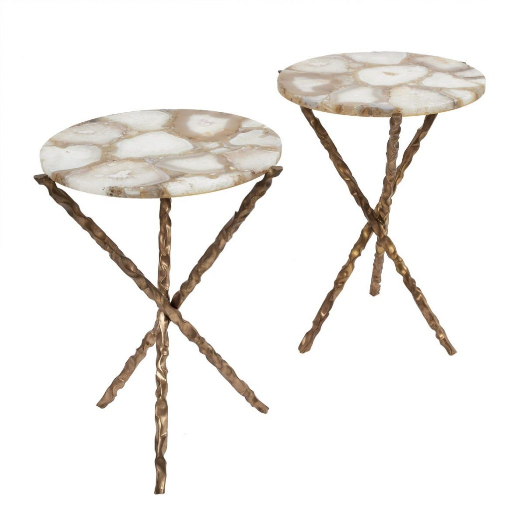 Pair Bronze Tables With Agate Tops