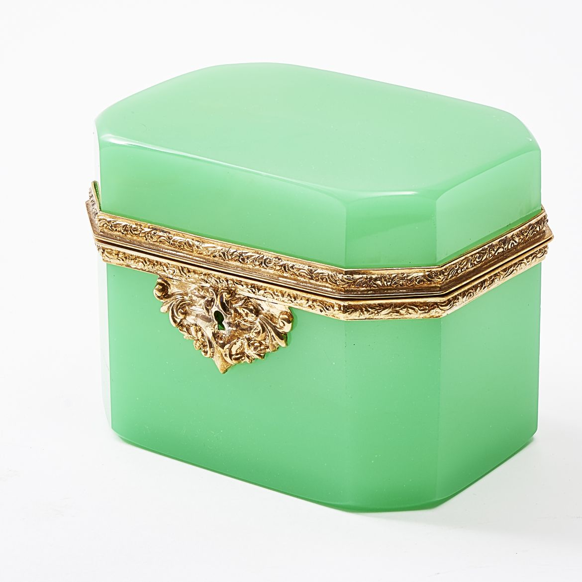 Bohemian Pale Green Glass Box