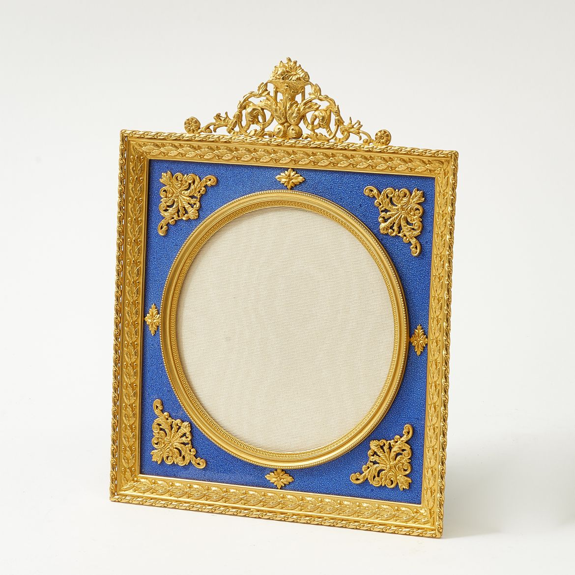 French Square Blue Enamel Frame