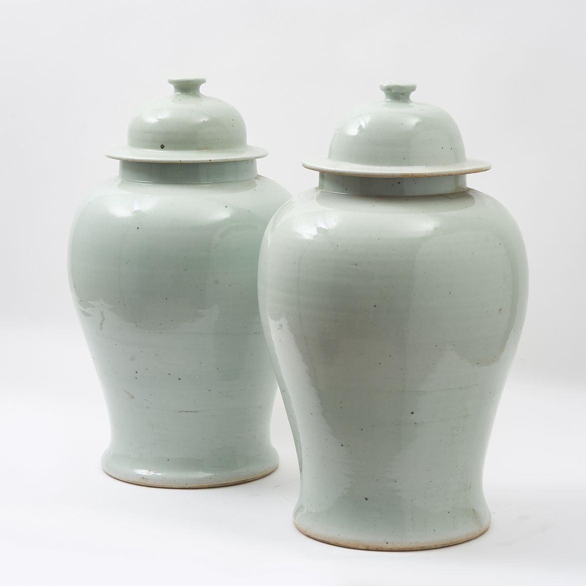 Chinese White Glaze Temple Jars