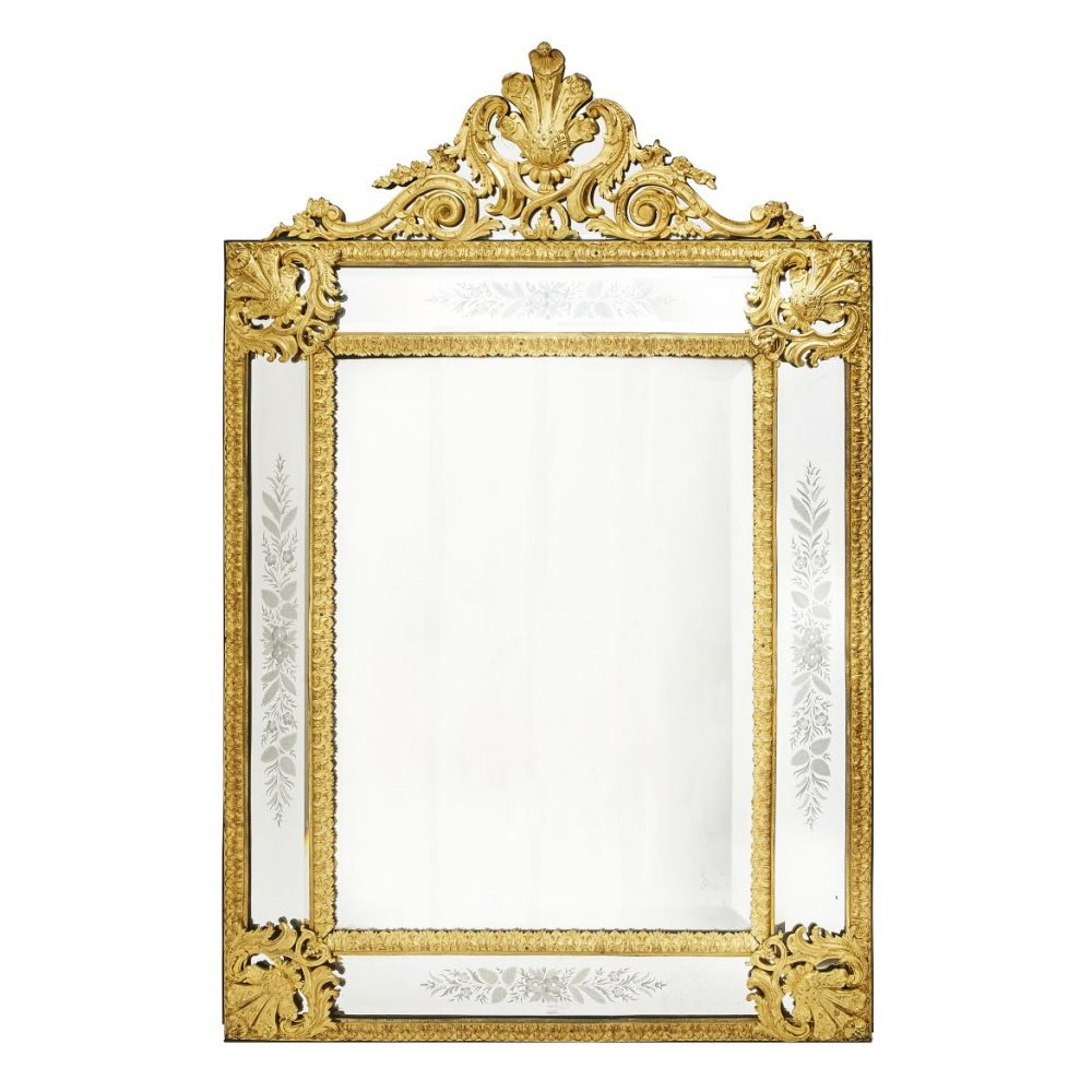 French Louis XIV Style Ormolu Mirror