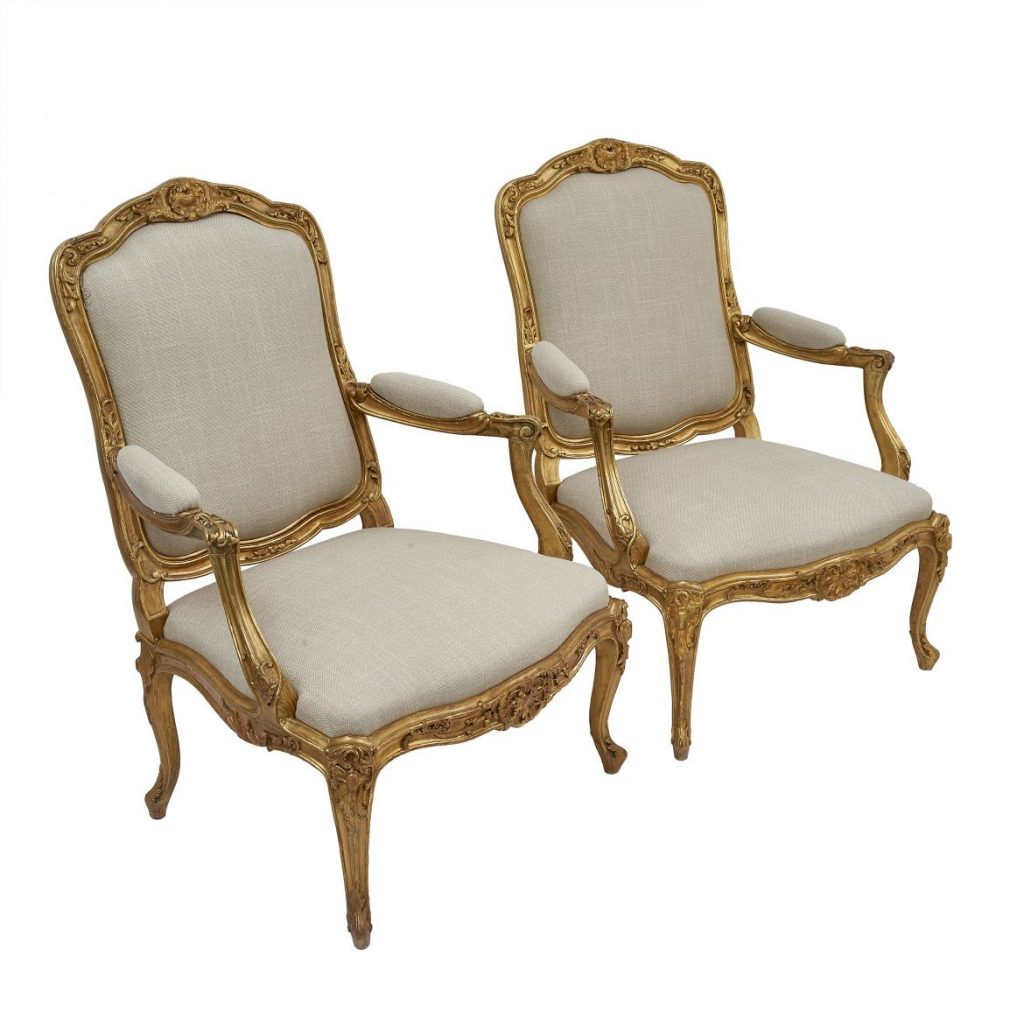 "Pair Giltwood ""A Chassis"" Armchairs"