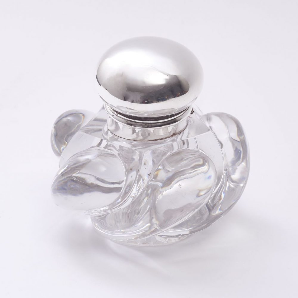 Glass and Silver Plate Inkwell by Baccarat