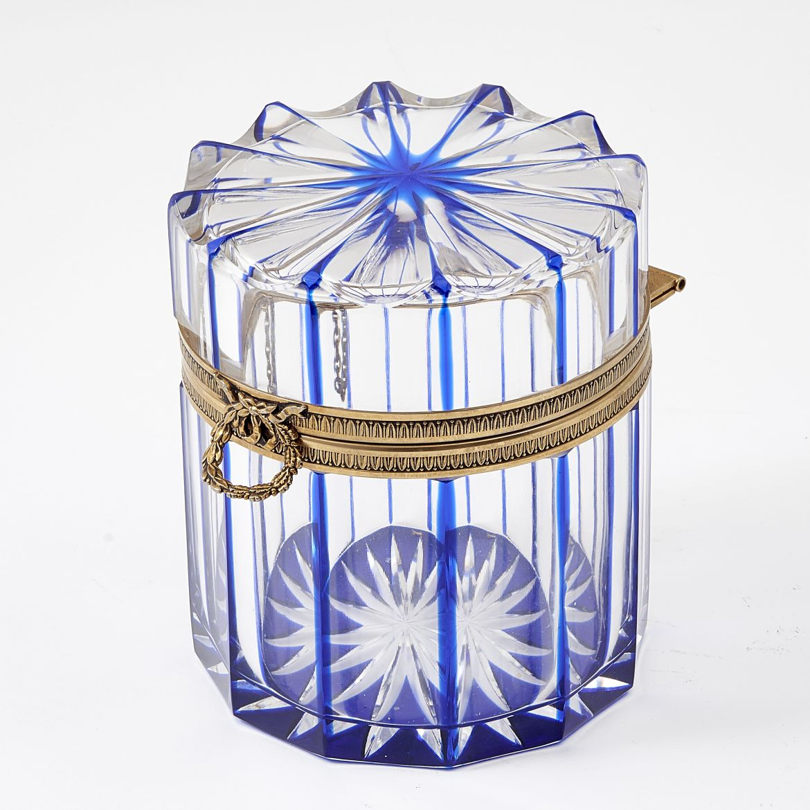 Circular Blue Cut Crystal Casket