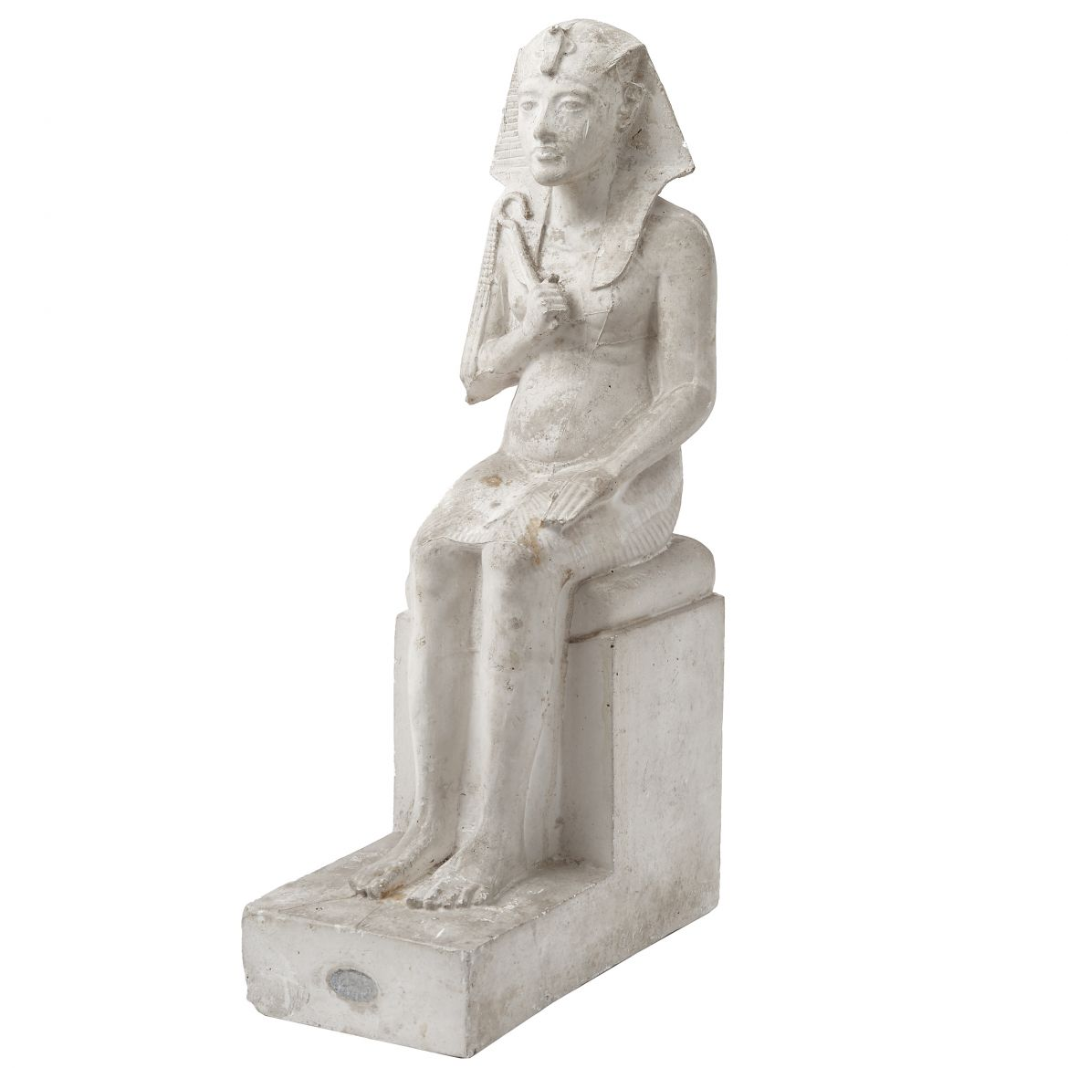 Plaster Cast Of Seated Pharaoh