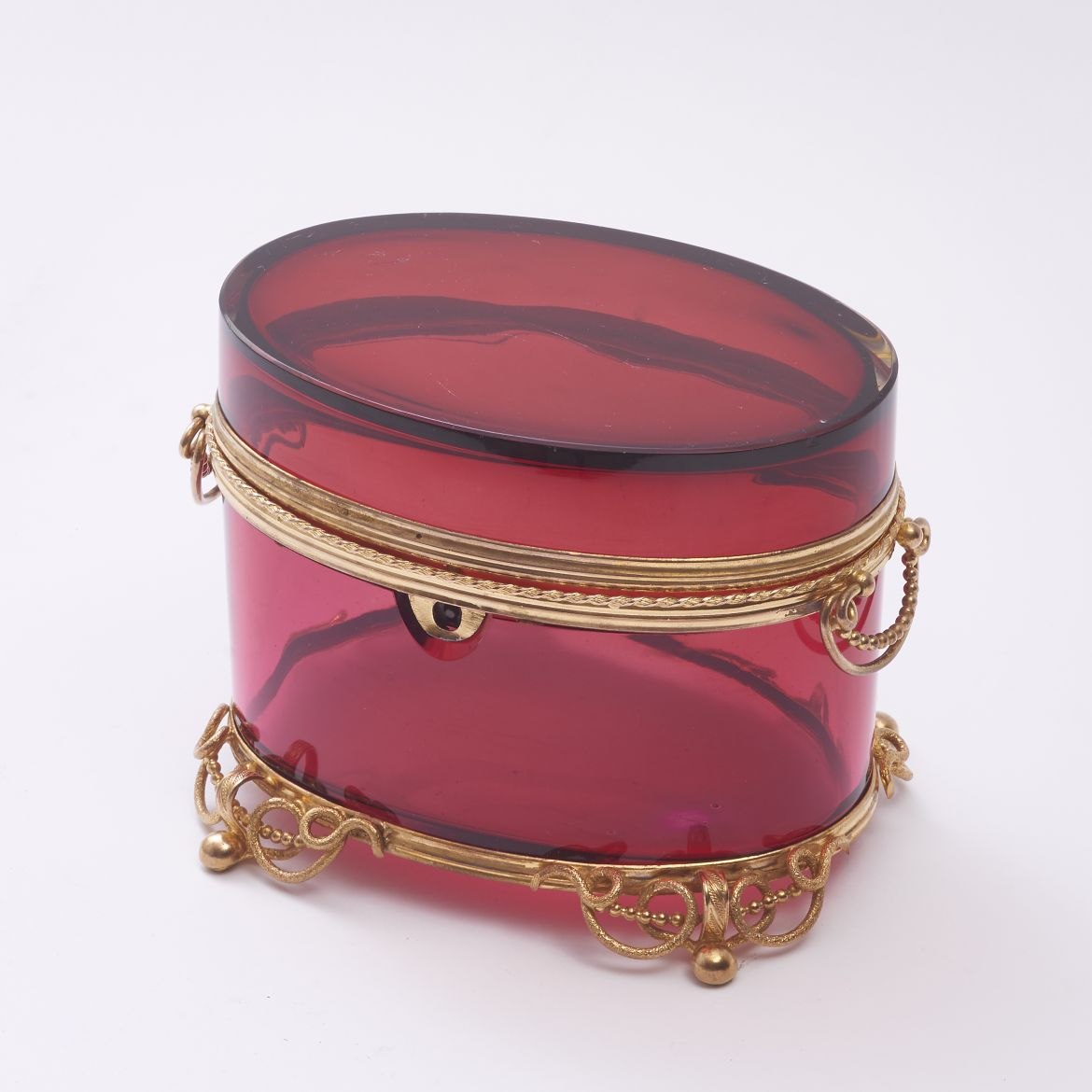 Red Bohemian glass Box