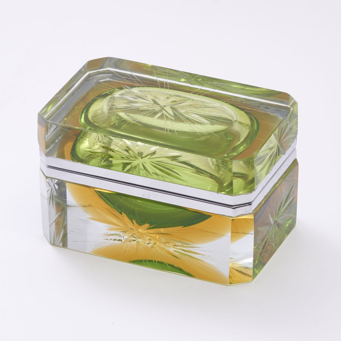 Murano Green and Yellow Glass Box