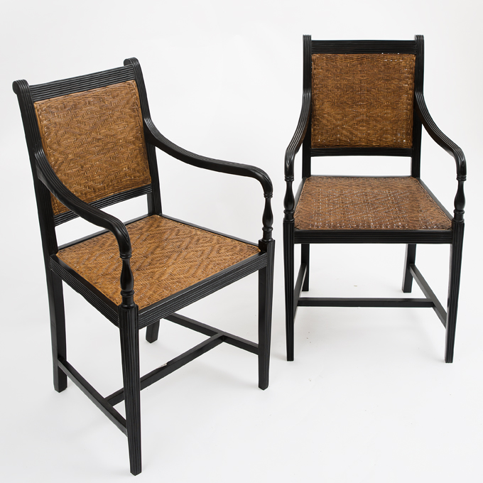 Contemporary Anglo Indian Ebony Chairs