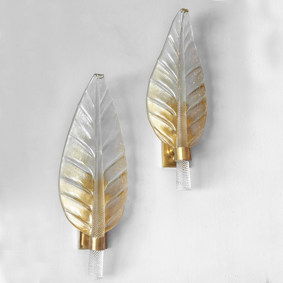 Contemporary Murano Leaf Wall Lights