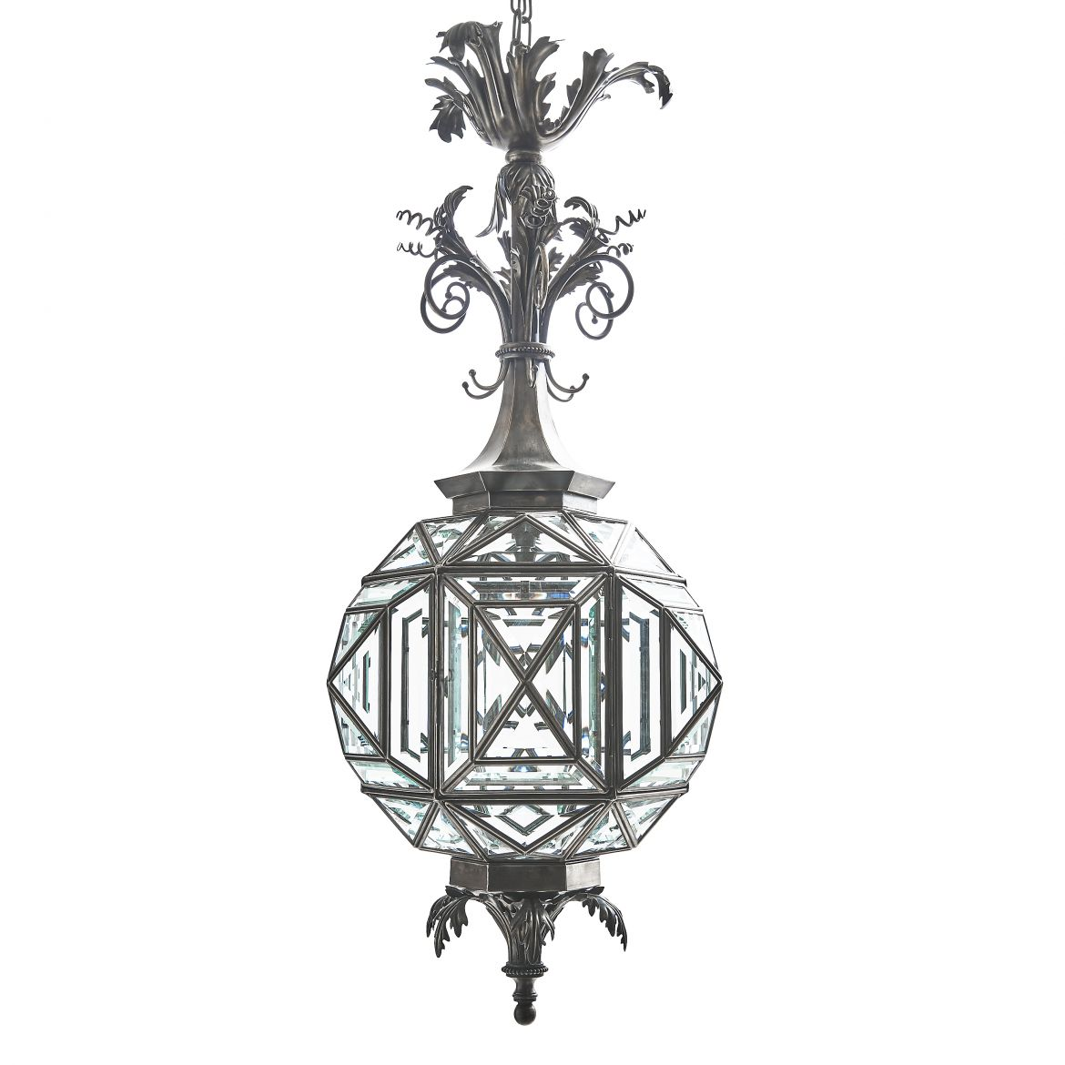 Contemporary hexagonal silvered Lantern