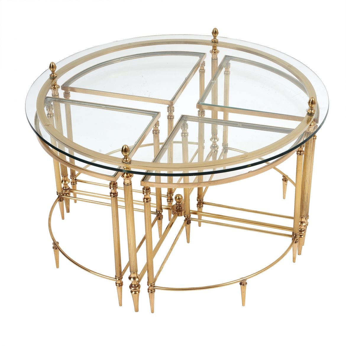 Brass & Glass Nest of Coffee Tables