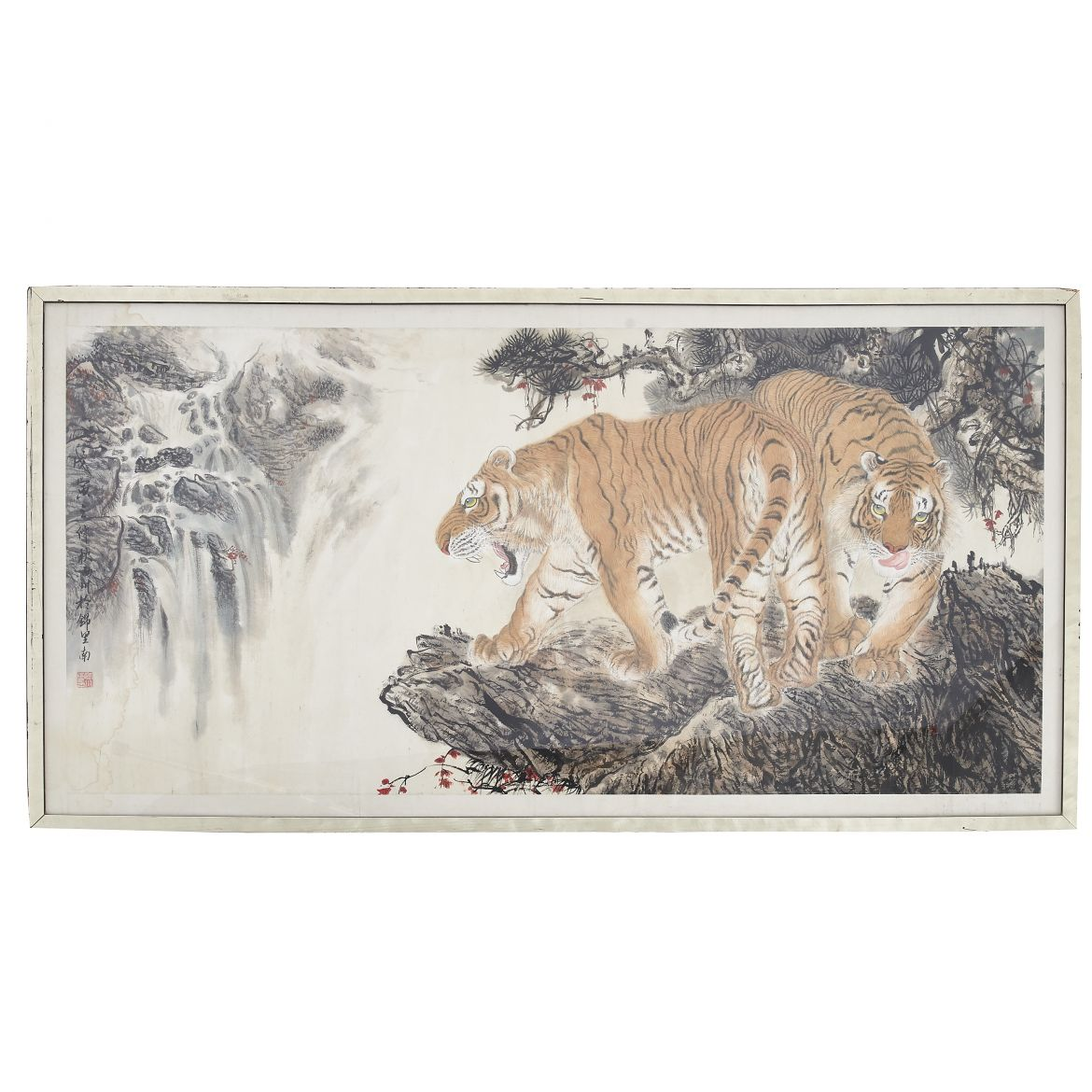 Japanese Silk Panel of Tigers