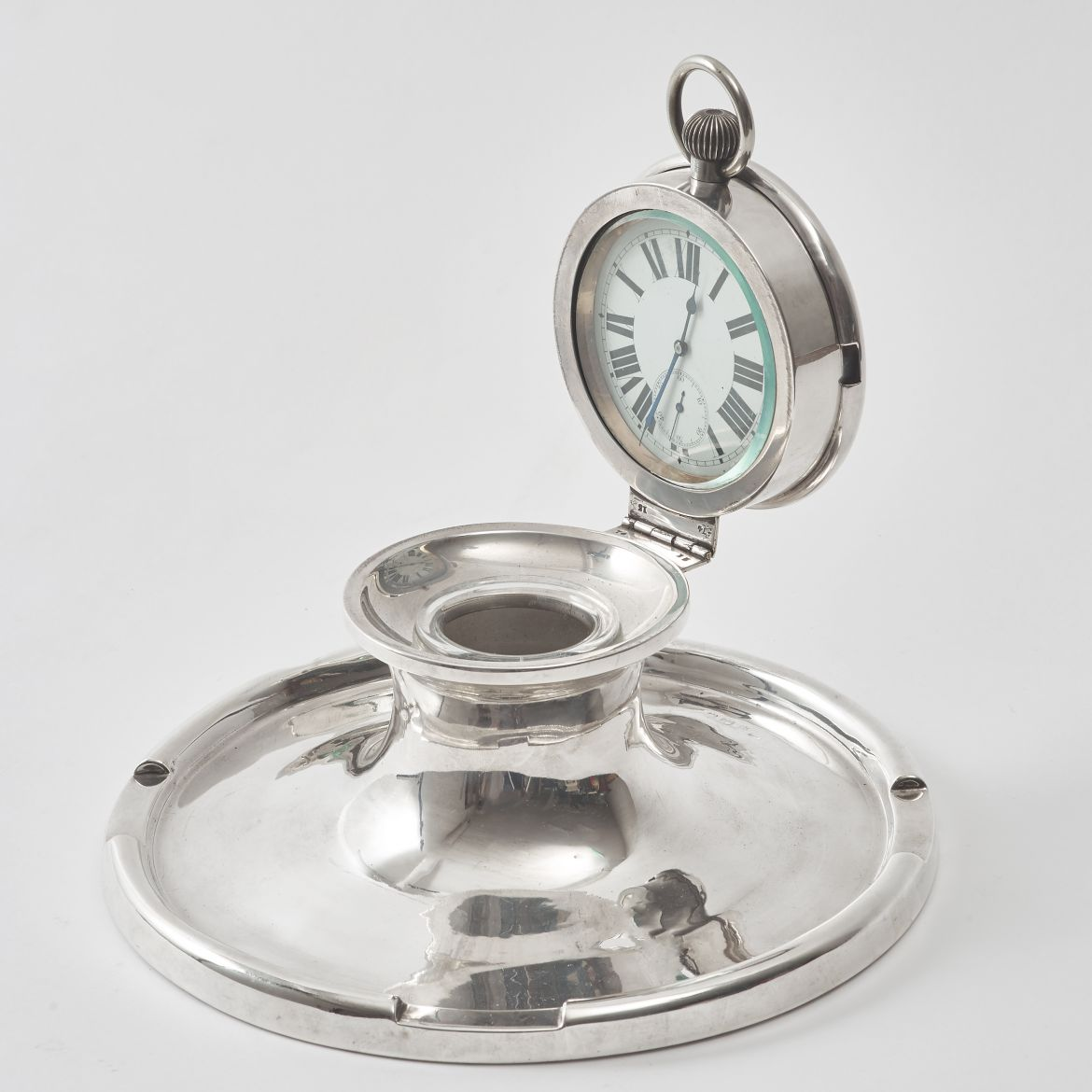 Large English Silver Clock Inkwell