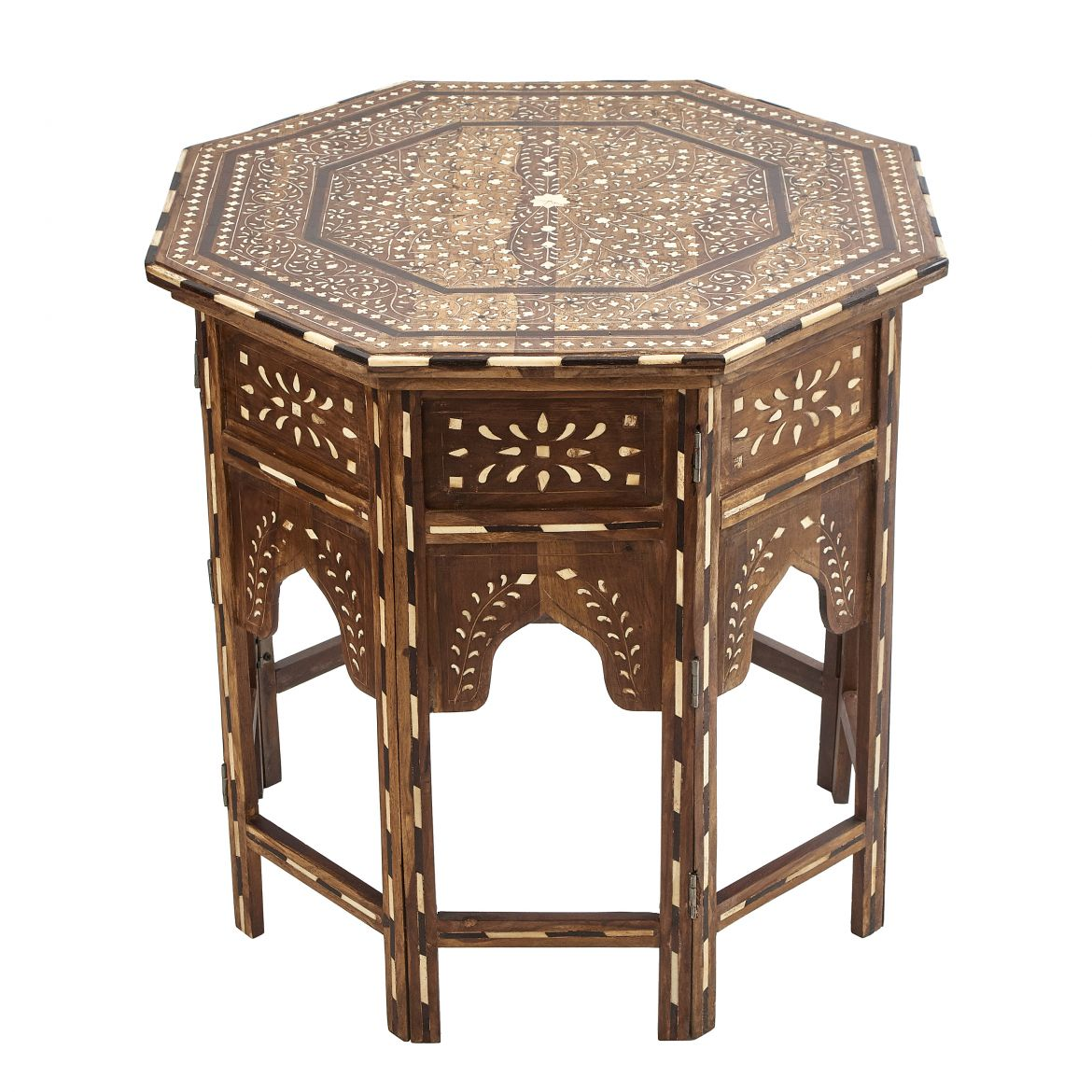 Octagonal Inlaid Table With Floral Design