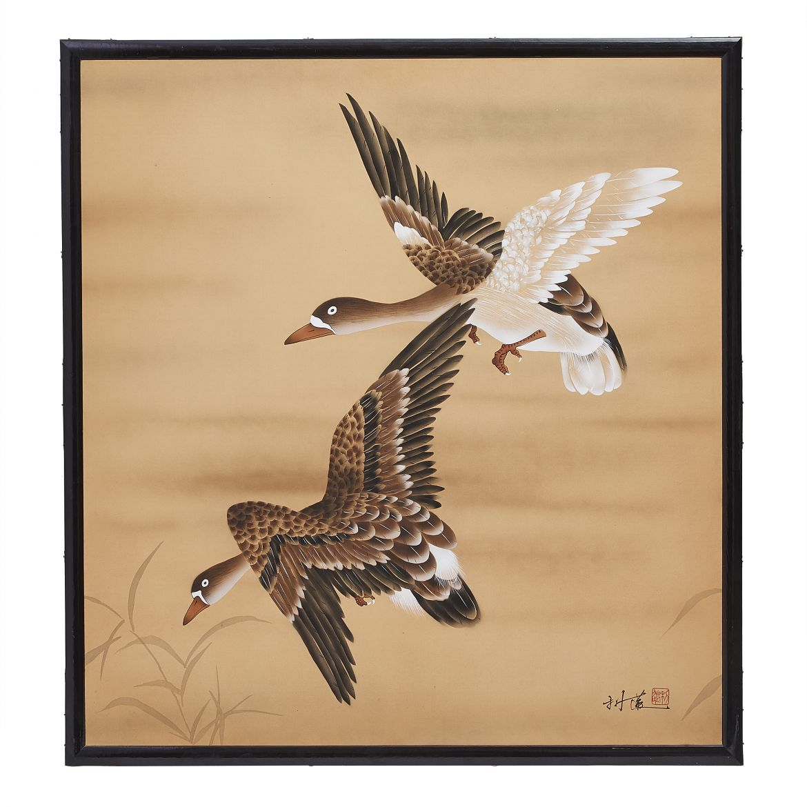 Japanese Screen With Flying Ducks