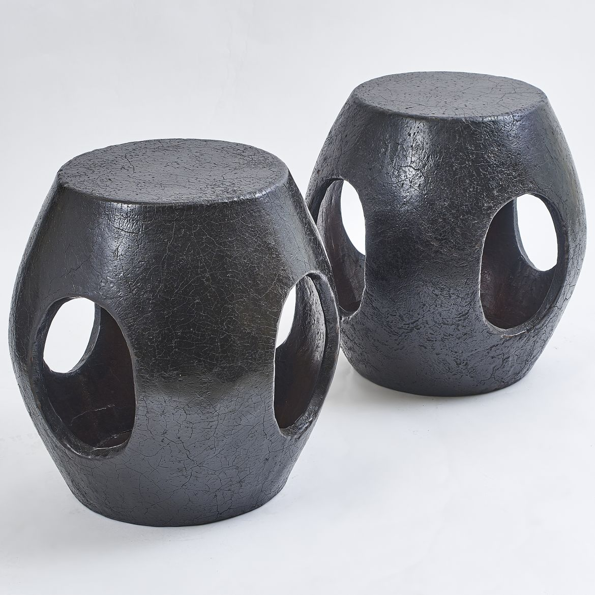Pair Black Lacquer Stools