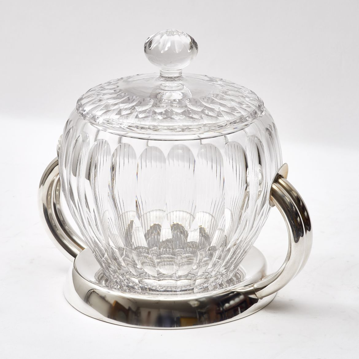 Large Italian Crystal and Silver Plate Bowl