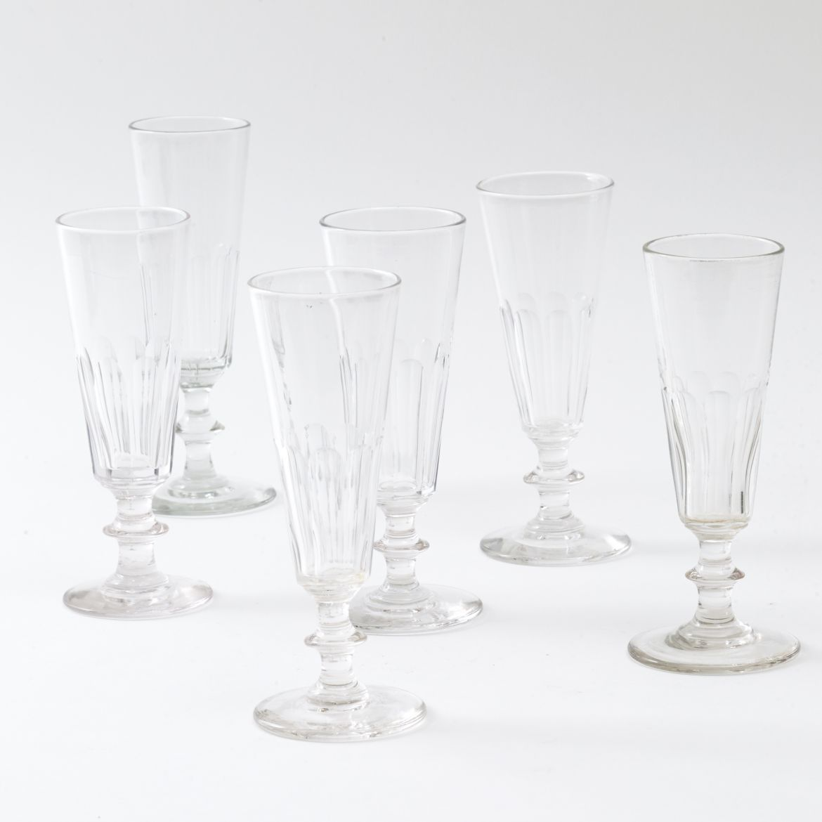 Six French Champagne Flutes