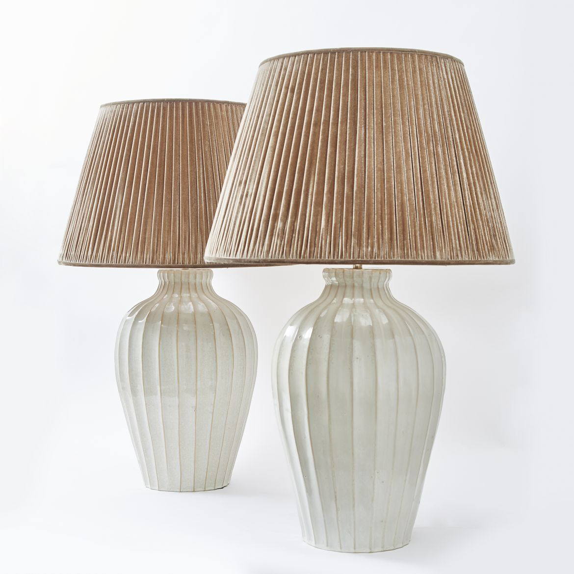 Pair Japanese Ribbed Lamps