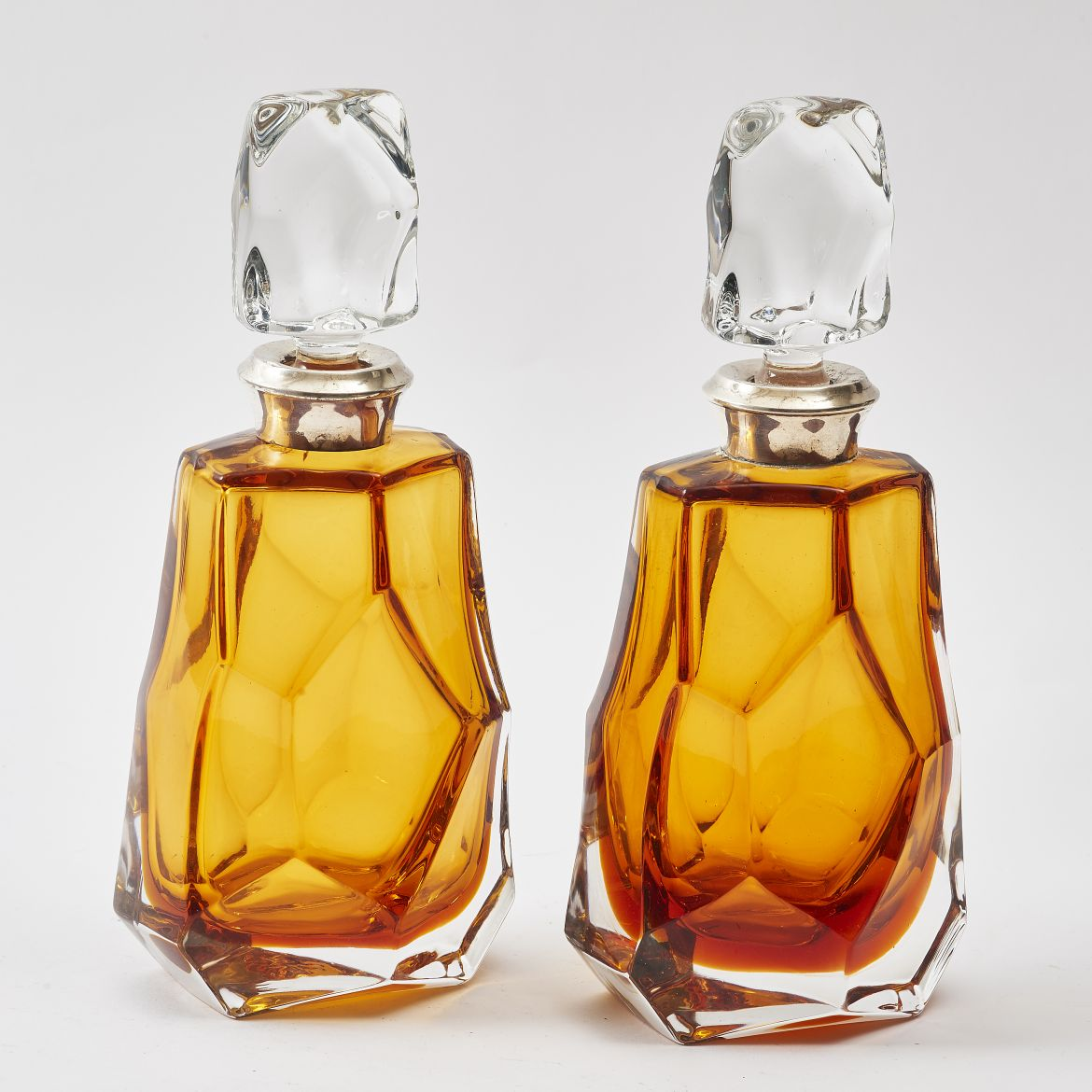 Pair Spanish Amber Decanters