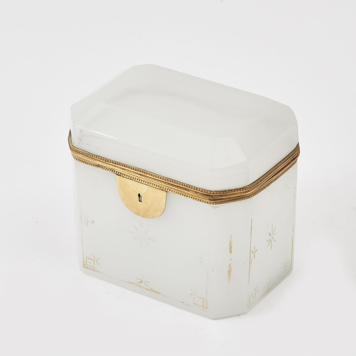 White Opaline Glass Casket