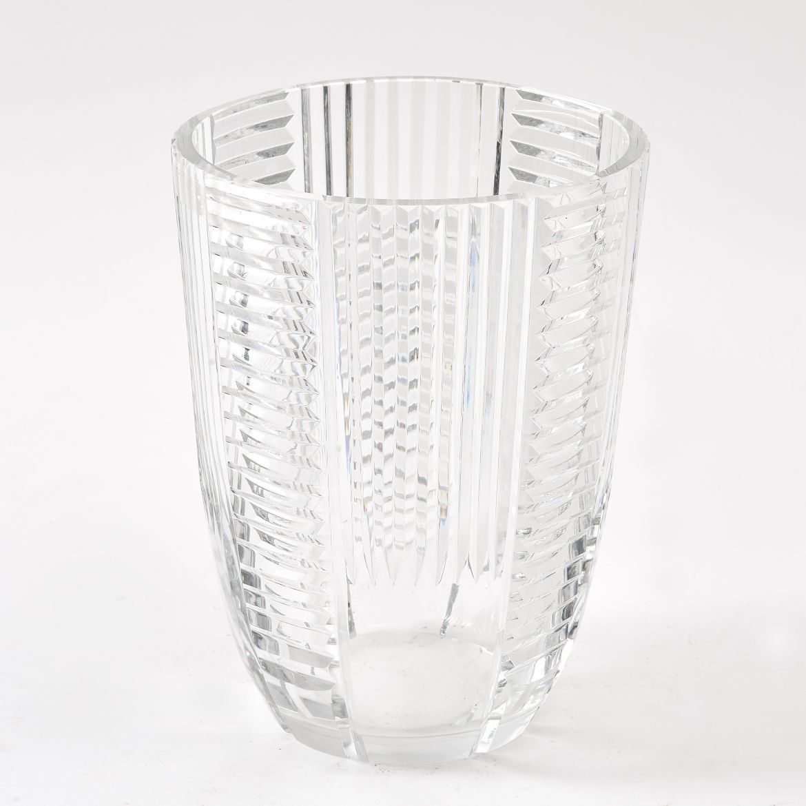 Geometric Cut Glass Vase