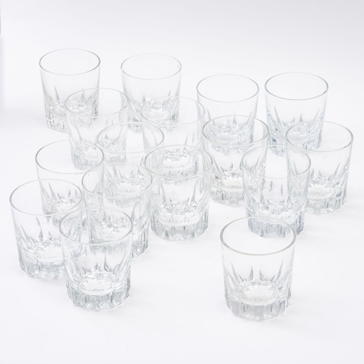 Sixteen Rare English Crystal Whisky Tumblers