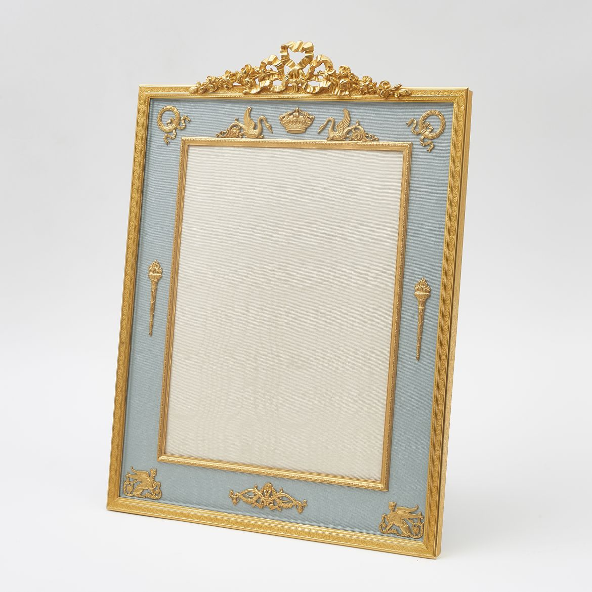Large Ormolu Photo Frame With Ribbon Crest