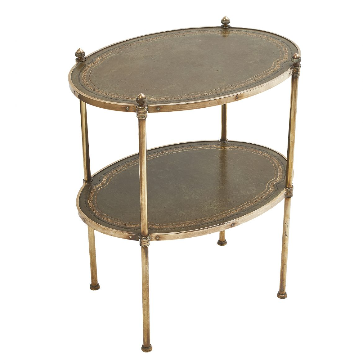 Oval Brass & Leather Side Table