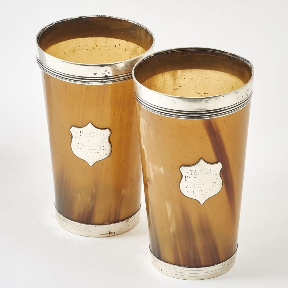 Pair Horn and Silver Beakers