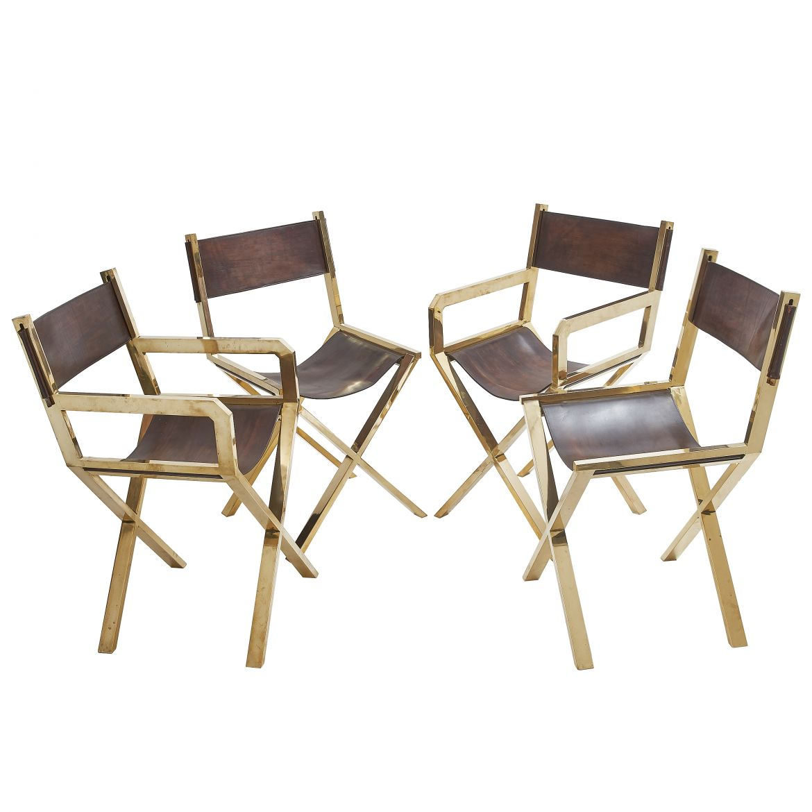 Set 4 Brass Director's Chairs