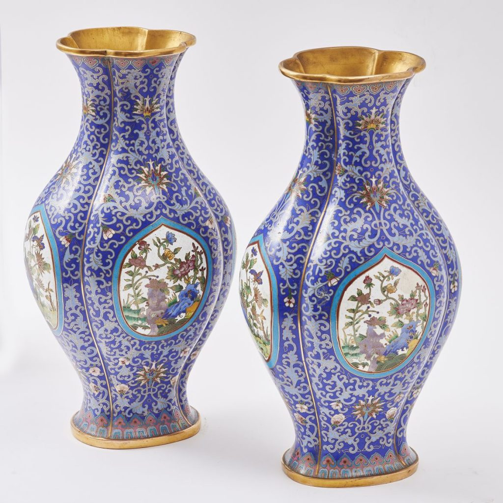 Pair Chinese Cloisonnée Vases