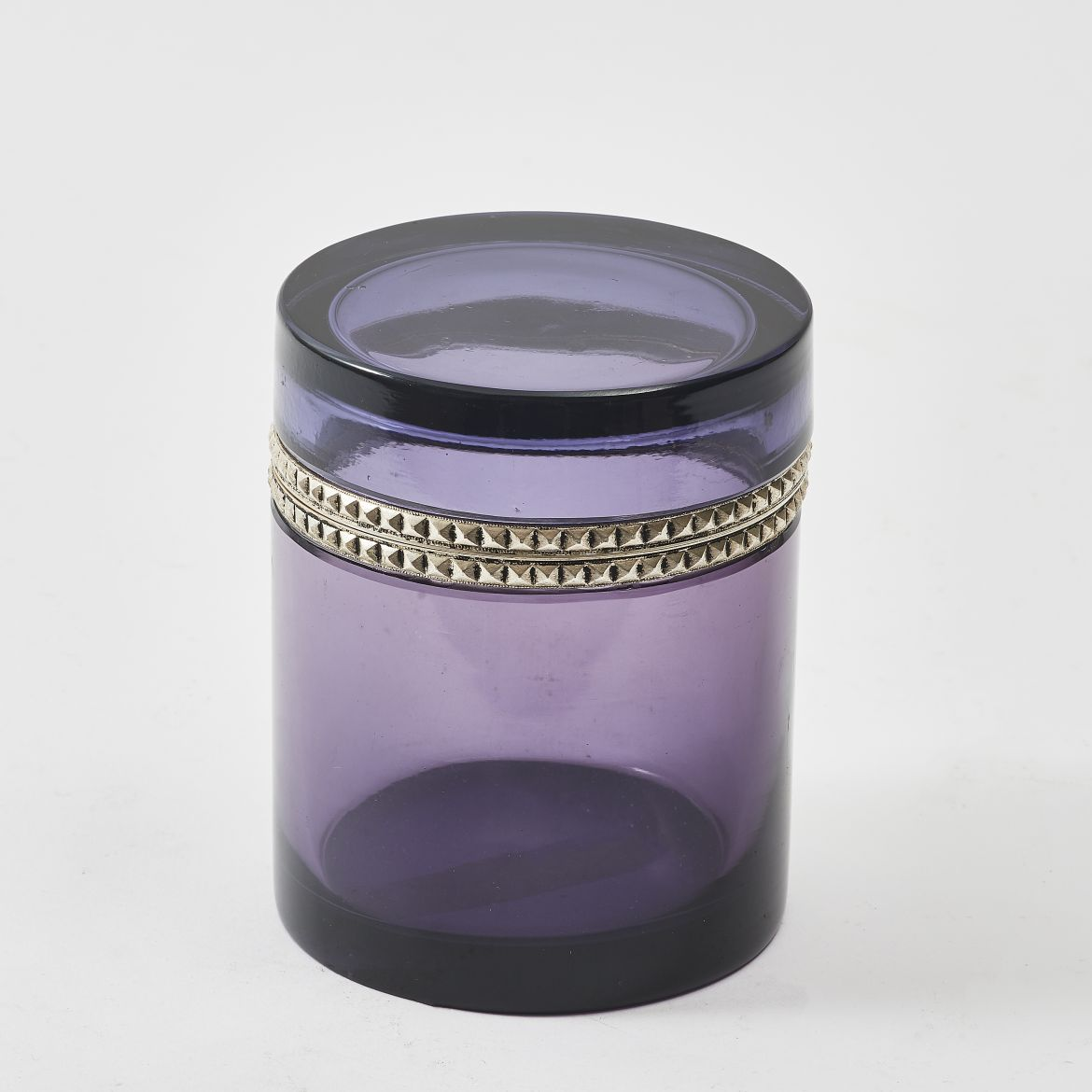 Cylindrical Clear Purple Casket