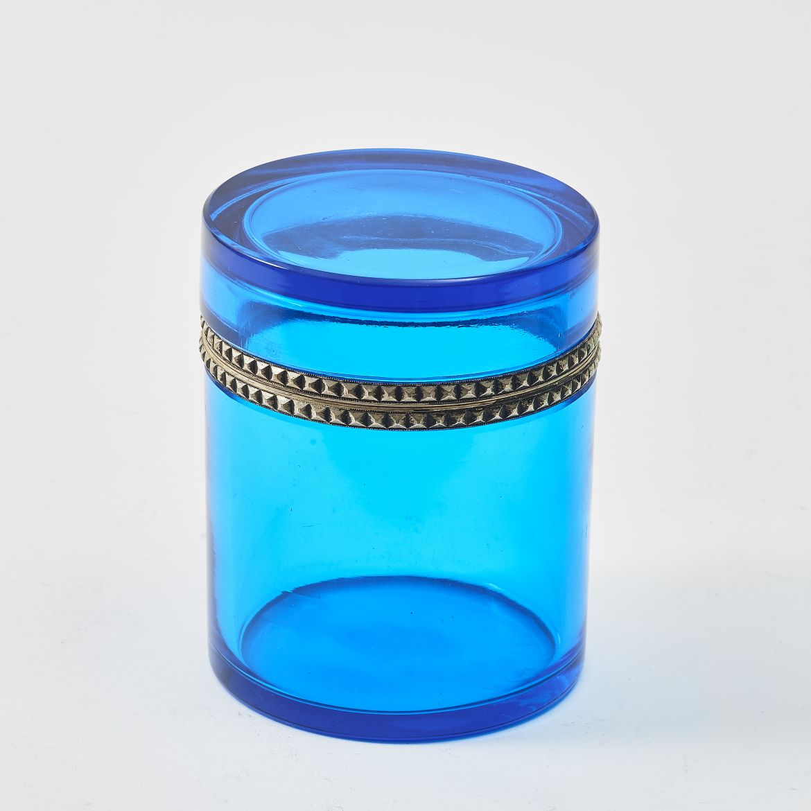 Cylindrical Clear Blue Casket