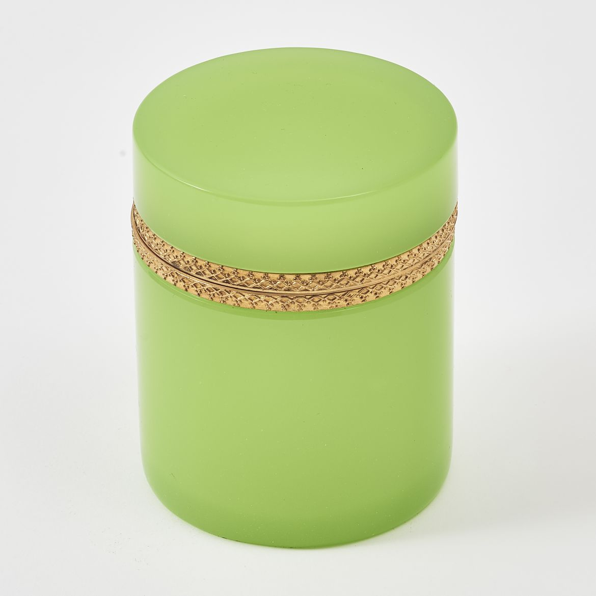 Opaque Green Glass Cylindrical Box